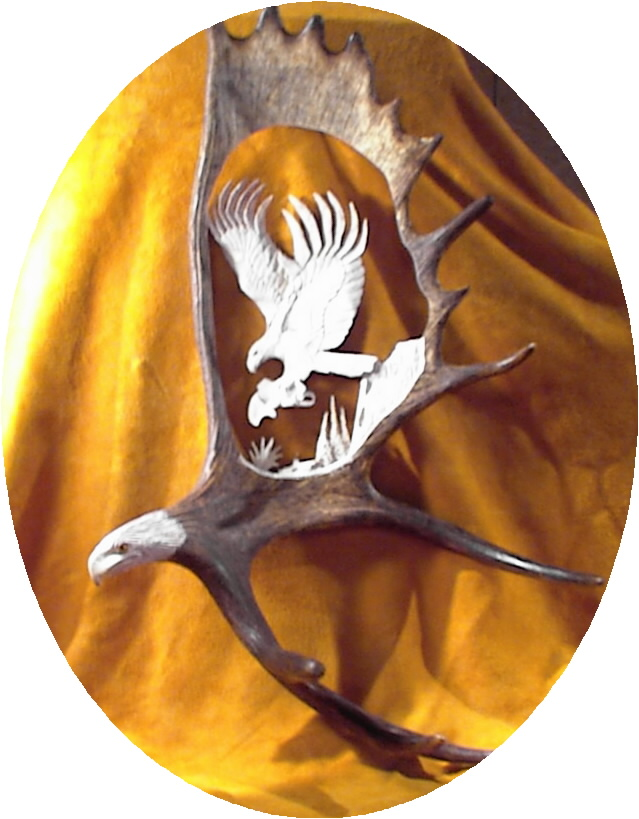 Eagle Themed Moose Antler Carving