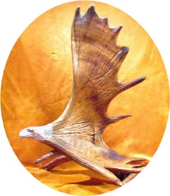 Moose Carving Artwork Eagle