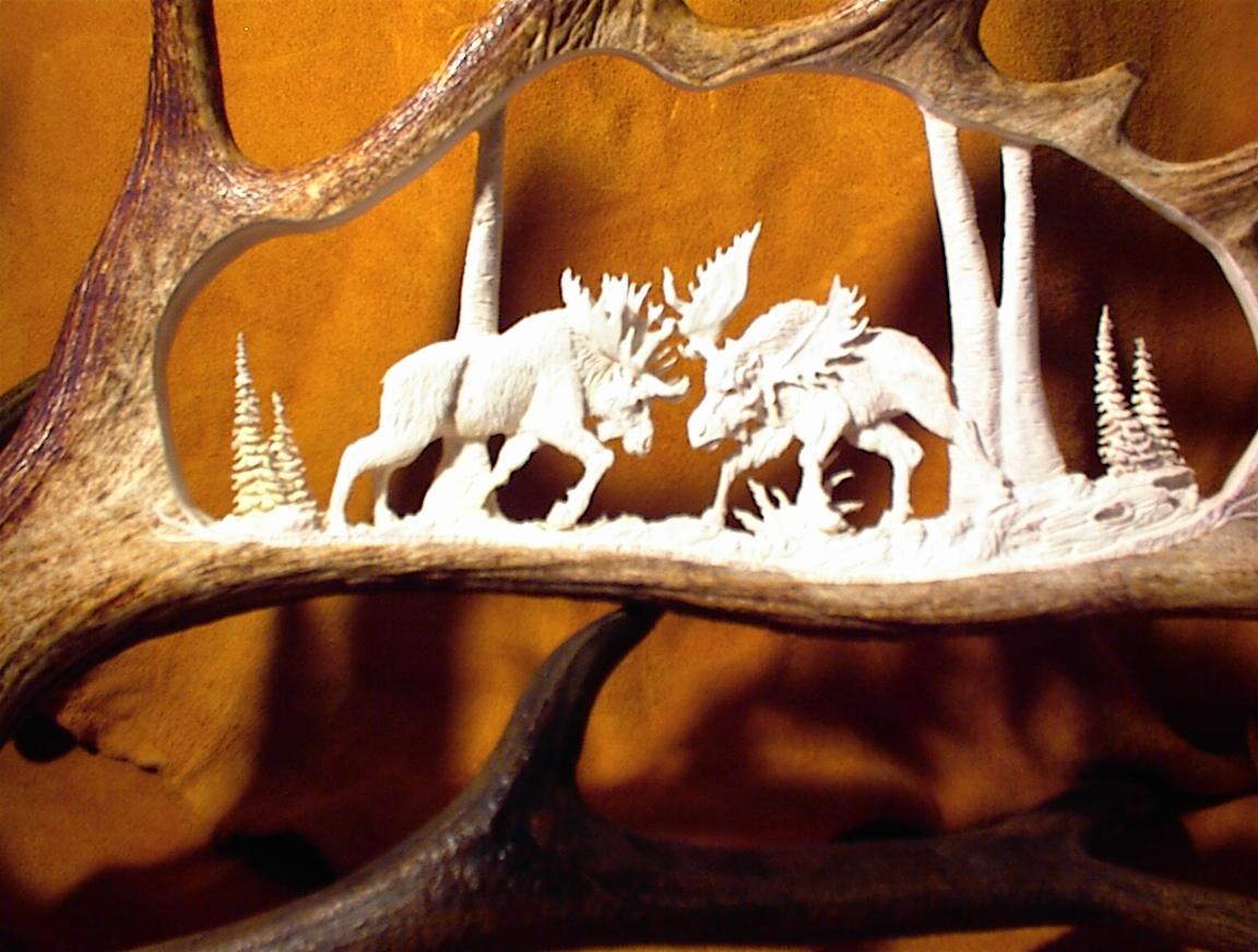 Unique antler design bear carvings